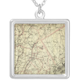 Colton's Driving and Wheeling Map of the US 2 Silver Plated Necklace