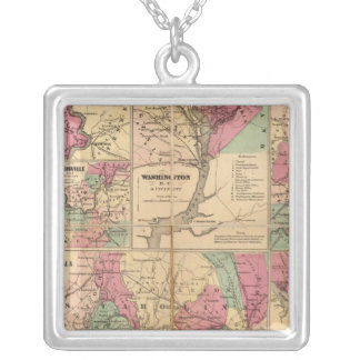 Colton's Plans of US Harbors Silver Plated Necklace