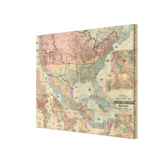 Colton's Railroad And Military Map Stretched Canvas Print