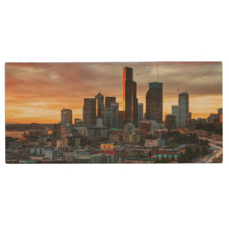 Columbia center and downtown Seattle, Seattle Wood USB 2.0 Flash Drive