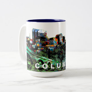 Columbia in graffiti Two-Tone coffee mug
