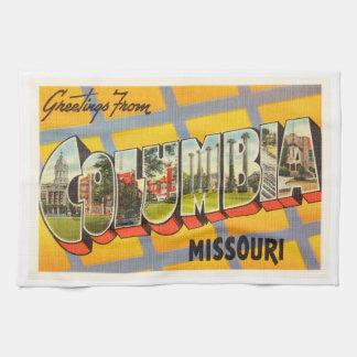 Columbia Missouri MO Old Vintage Travel Souvenir Hand Towels