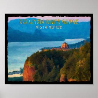 Columbia River Gorge and Vista House retro print