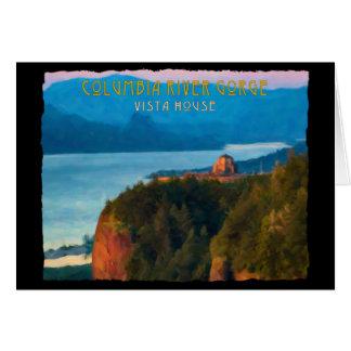 Columbia River Gorge and Vista House retro print Card