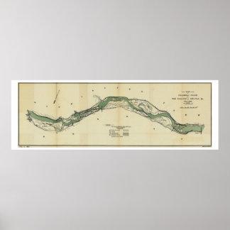 Columbia River Washington Antique Map Poster