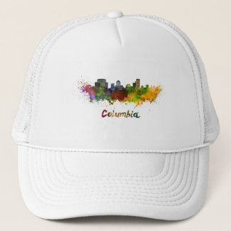 Columbia skyline in watercolor trucker hat