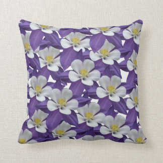 Columbine Flower Pattern Square Throw Pillow Cushion
