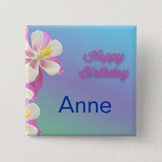 Columbine Flower Pink & White 15 Cm Square Badge