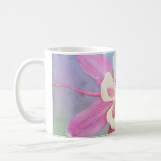 Columbine Flower Pink & White Coffee Mug