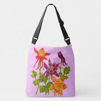columbine flowers crossbody bag