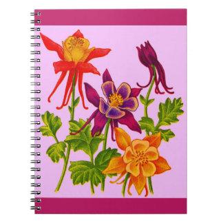 columbine flowers print notebook