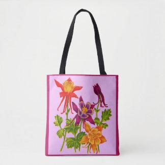 columbine flowers print tote bag
