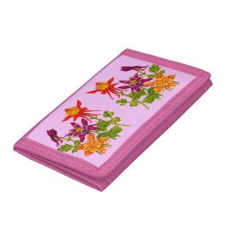 columbine flowers print tri-fold wallet