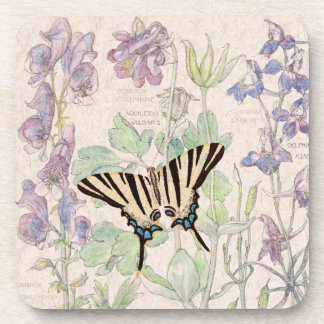 Columbine Flowers Wildlife Butterfly Coaster