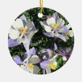 Columbine wildflowers ceramic ornament