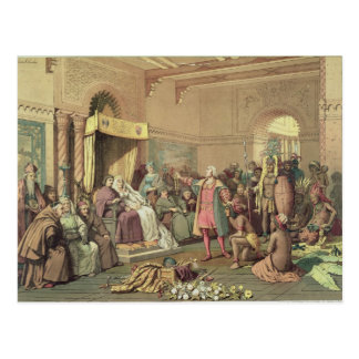 Columbus at the Royal Court of Spain in Barcelona Postcard