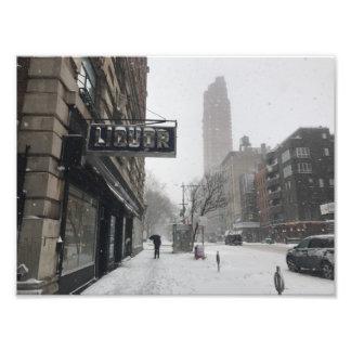 Columbus Avenue Liquor Store NYC Snowstorm Winter Photo Print