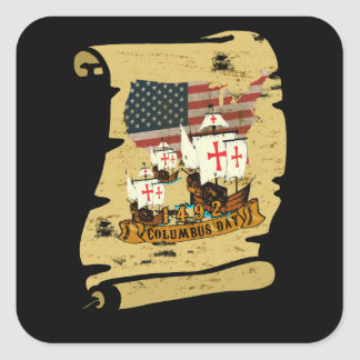 Columbus Day Square Sticker