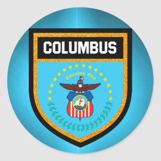 Columbus  Flag Classic Round Sticker
