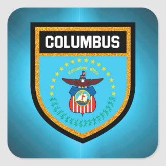 Columbus  Flag Square Sticker