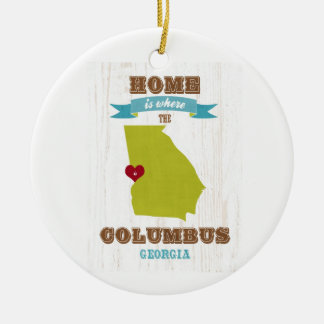 Columbus, Georgia Map – Home Is Where The Heart Is Round Ceramic Decoration