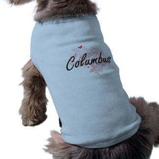Columbus Ohio City Artistic design with butterflie Sleeveless Dog Shirt