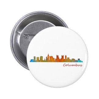 Columbus Ohio, City Skyline, v1 6 Cm Round Badge