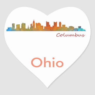 Columbus Ohio, City Skyline, v1 Heart Sticker
