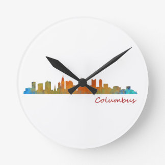 Columbus Ohio, City Skyline, v1 Round Clock
