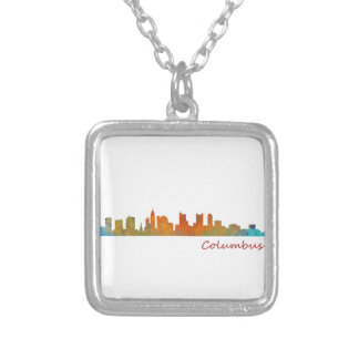 Columbus Ohio, City Skyline, v1 Silver Plated Necklace
