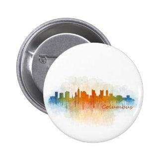Columbus Ohio, City Skyline, v3 6 Cm Round Badge