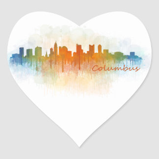 Columbus Ohio, City Skyline, v3 Heart Sticker