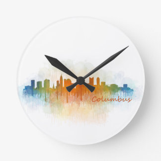 Columbus Ohio, City Skyline, v3 Round Clock