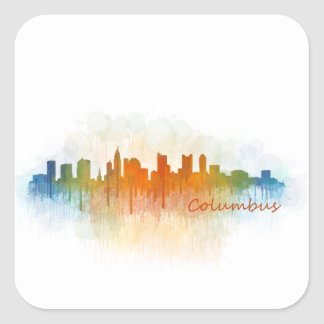 Columbus Ohio, City Skyline, v3 Square Sticker