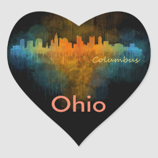 Columbus Ohio, City Skyline, v4 Heart Sticker
