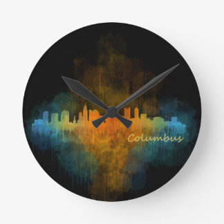 Columbus Ohio, City Skyline, v4 Round Clock