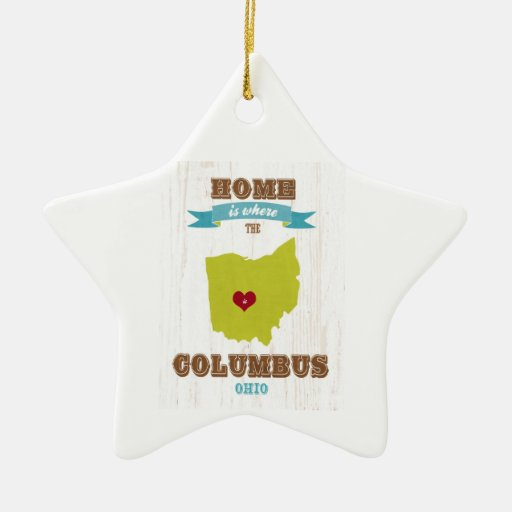 Columbus, Ohio Map – Home Is Where The Heart Is Christmas Ornament