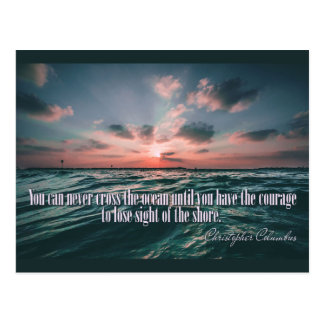 Columbus Quote Sunset postcard