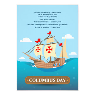 Columbus' Sailing Ship Invitation