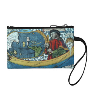 Columbus Ship Map Travel Discovery Vintage bag Coin Purses