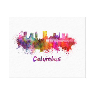 Columbus skyline in watercolor canvas print