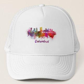 Columbus skyline in watercolor trucker hat