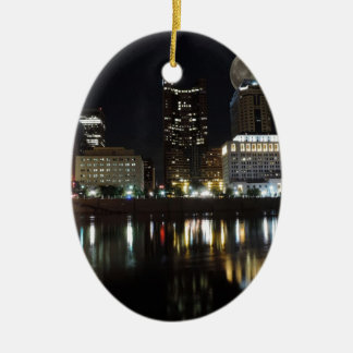 Columbus Skyline with the Moon Ceramic Ornament