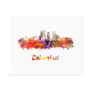 Columbus V2 skyline in watercolor Canvas Print