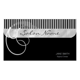 Comb and Curls Black Business Card Template