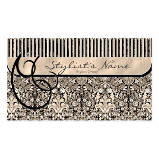Comb and Curls Damask Business Card Template