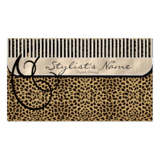 Comb and Curls Leopard Business Card Templates
