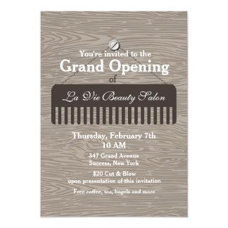 "Comb Sign Salon Grand Opening Announcement 5"" X 7"" Invitation Card"