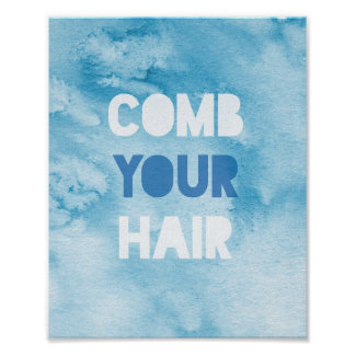 """comb your hair"" watercolour print"