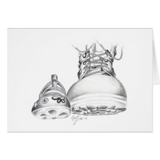 Combat boots and Mary Janes Note Card